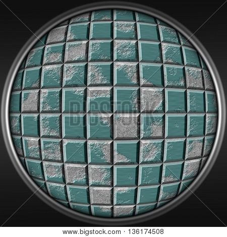 Abstract decorative metal blue sphere - square 3D pattern