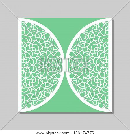 Wedding invitation or greeting card with mandala lace ornament. Die cut paper lace envelope template. Gate fold card template for laser cutting.