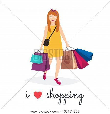 Woman shopping and holding bags. I love shopping. Fashion Shopping. Shopper. Sales.