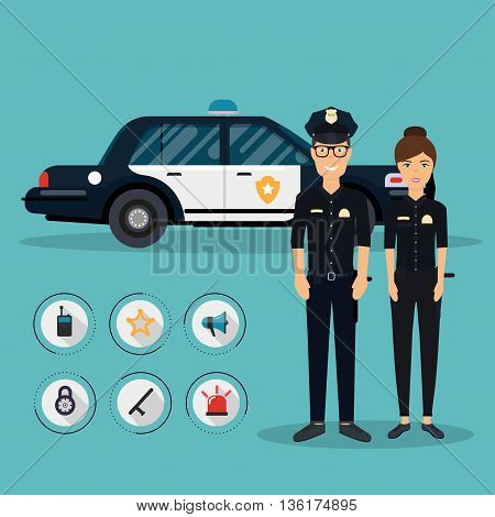 Officer Characters With Police Car Vehicle In Flat Design. Policeman And Policewoman. Security Eleme