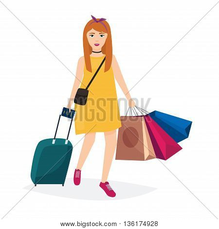 Girl standing with travel bag holding passport and tickets shop bags. Travel and tourism. Flat design modern vector illustration concept.