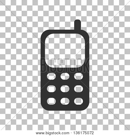 Cell Phone sign. Dark gray icon on transparent background.