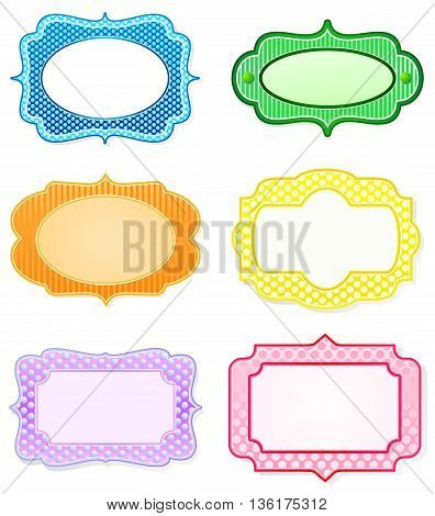 Set of rainbow colored icon designs for labels