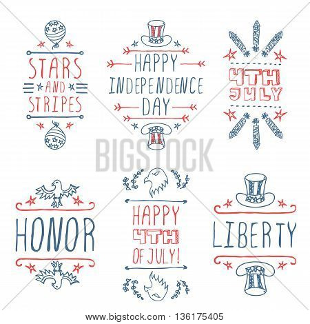 Happy Independence day handlettering elements on white background