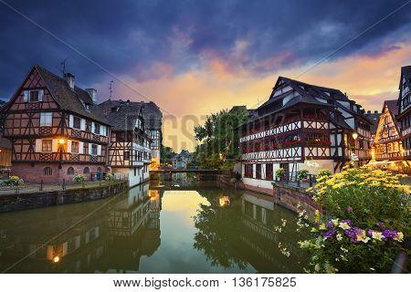 Strasbourg. Image of Strasbourg old town during dramatic sunset.