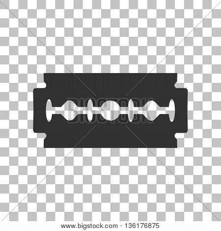 Razor blade sign. Dark gray icon on transparent background.