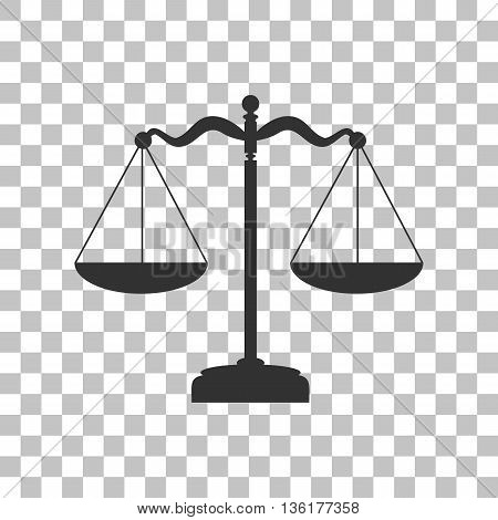 Scales balance sign. Dark gray icon on transparent background.