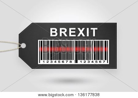 brexit or british exit price tag with barcode and grey radial gradient background