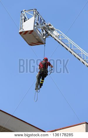 Firefighter Hung The Rope Climbing In The Fire Station