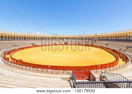 SEVILLE, SPAIN - JUN 4: Shrine in bullfight arena, plaza de toros at Sevilla, Spain on June 4, 2014. This is a 12,000-capacity bullring in Seville, Spain.