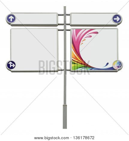 Blank metal signpost. Template for information isolated on the white background. Rainbow wave splashing and arrows