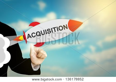 business hand clicking acquisition flat design rocket