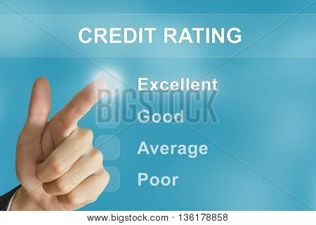 business hand clicking credit rating button on screen