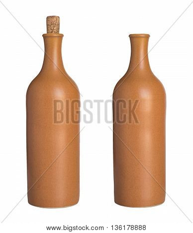 Ceramic bottle with a cork and without. Isolated on the white background. no shadow.