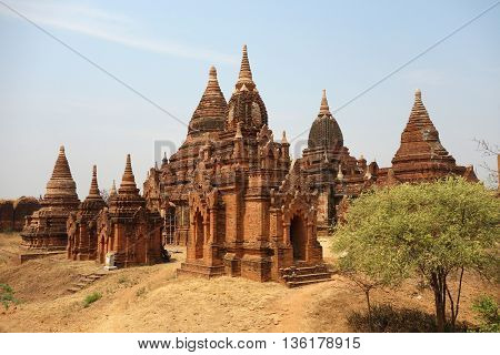 A group of temples and pagodas in Bagan, Myanmar