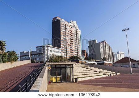 Promenade And Concrete Terrace Against  Beach Front City Skyline