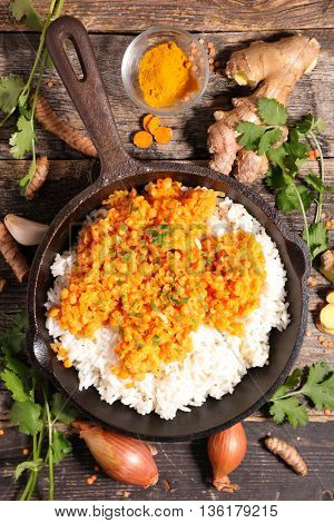 rice,red lentil and coriander