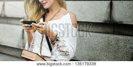 Woman Using Smart Phone Wireless Connection Concept