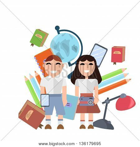 Back to school supplies set vector illustration. Learning notebook kids accessories school supplies. Student equipment school supplies. Stationery book college tools. Back to school concept.