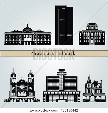 Phoenix landmarks and monuments isolated on blue background in editable vector file