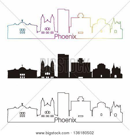 Phoenix skyline linear style with rainbow in editable vector file