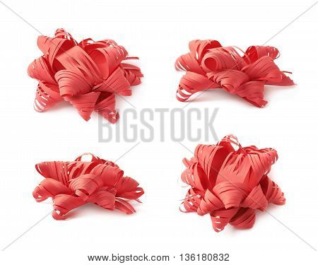 Decorational red ribbon gift bow isolated over the white background, set collection of four diffirent foreshortenings