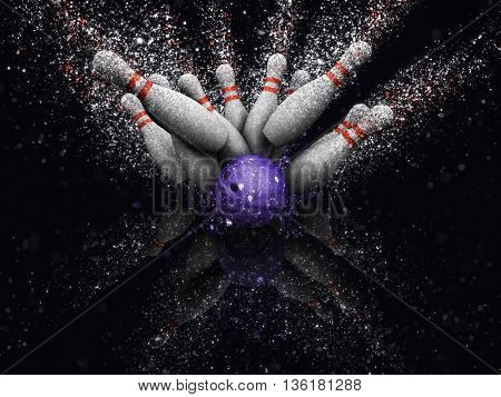3D render of bowling skittles with glitter effect