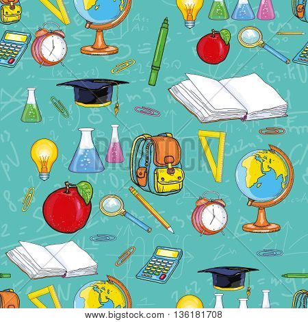 Education seamless pattern back to school open book globe pencils textbooks vector illustration