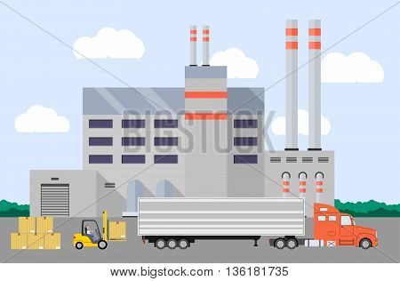 Truck and forklift loader near factory. Cargo loading. Industry product loading into truck. Vector illustration.