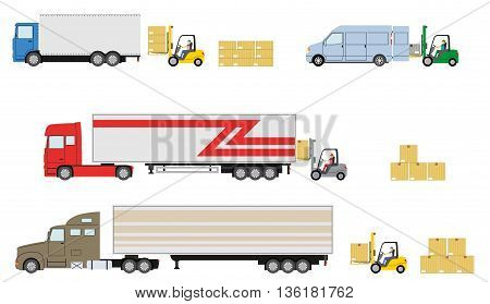 Set of truck with forklift loader. Truck delivery concept. Cargo loading. Vector illustration.