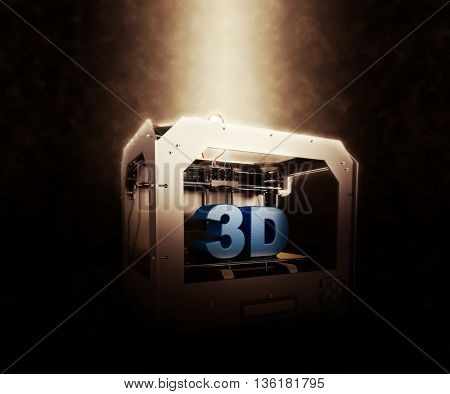 3D Render of 3 Dimensional  Printer on a dramatic background