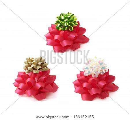 Decorational red ribbon gift bow isolated over the white background, set collection of three diffirent foreshortenings