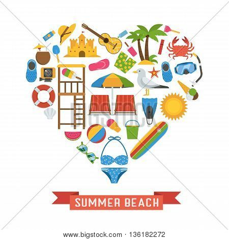 Love summer beach items collection heart shape. Sea vacation vector icon set. Sunbathing accessories and sunbathing activity beaches elements. Marine sports and leisure symbols. Tropic holiday icons.