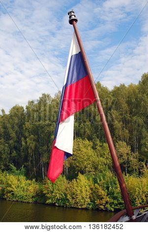 Russian state flag tricolor, green trees and blue sky with clouds background, no people. Color photo.