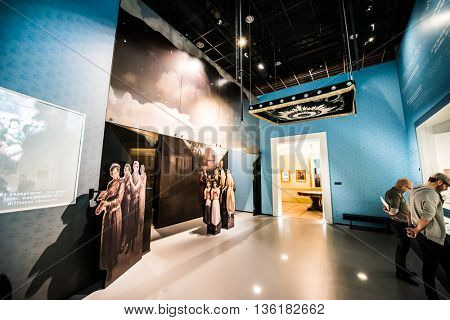 Warsaw, Poland - March 08, 2015: Interior Museum of the History of Polish Jews, built in years 2009-2013, documents the millennial tradition of Jews in Poland in Warsaw