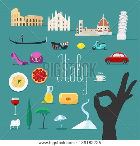 Travel to Italy vector icons set. Italian landmarks cathedral gondola Rome Colosseum etc. Ok hand sign as a separate icon. Travel to Italy concept design
