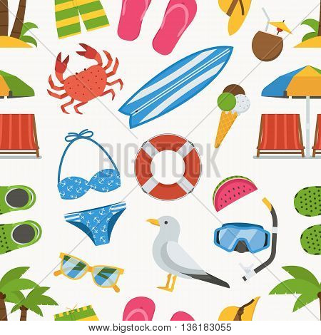 Summer beach seamless background. Sea vacation vector pattern. Sunbathing accessories and sunbathing activity beaches elements backdrop. Marine sports and leisure symbols.