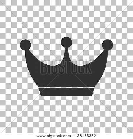 King crown sign. Dark gray icon on transparent background.