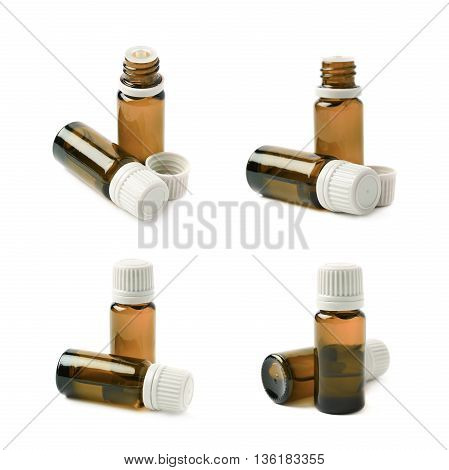 Small brown glass flask vial, composition isolated over the white background, set of four different foreshortenings
