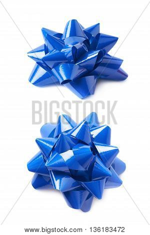 Decorational blue ribbon gift bow isolated over the white background, set collection of two diffirent foreshortenings