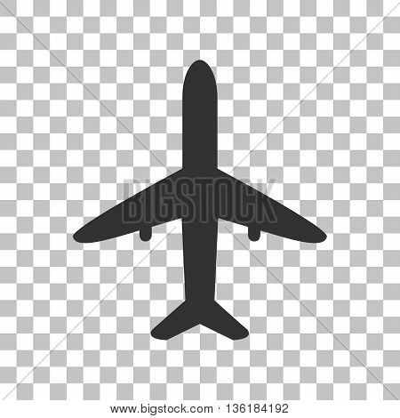 Airplane sign illustration. Dark gray icon on transparent background.