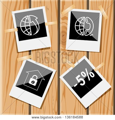 4 images: globe and array up, and phone, bank, -5%. Business set. Photo frames on wooden desk. Vector icons.