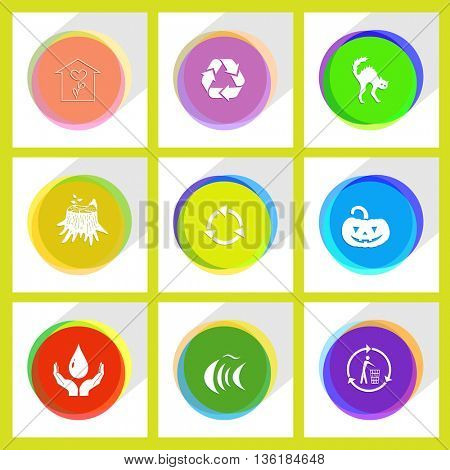 9 images: protection blood, fish, recycling bin, stub, pumpkin, flower shop, 2 recycle symbol, cat. Nature set. Internet template. Vector icons.