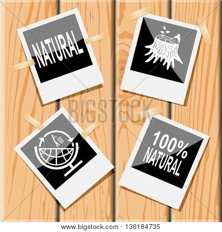 4 images: natural, stub, 100% natural, globe and recycling symbol. Ecology set. Photo frames on wooden desk. Vector icons.
