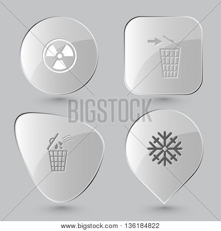 4 images: radiation symbol, 2 recycling bins, snowflake. Nature set. Glass buttons on gray background. Vector icons.