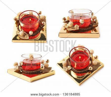 Festive red and golden color Christmas gel candle isolated over the white background, set of four different foreshortenings