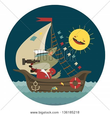 Cute captain wolf travelling by ship on sea. Vector illustration