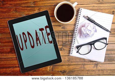 Update word on digital tablet pc closeup