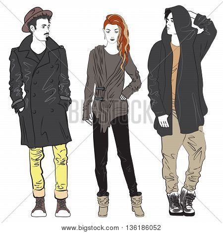 Fashion man and woman sketch illustration. Fashionable street guy and girl