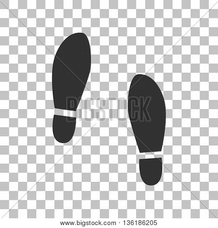 Imprint soles shoes sign. Dark gray icon on transparent background.